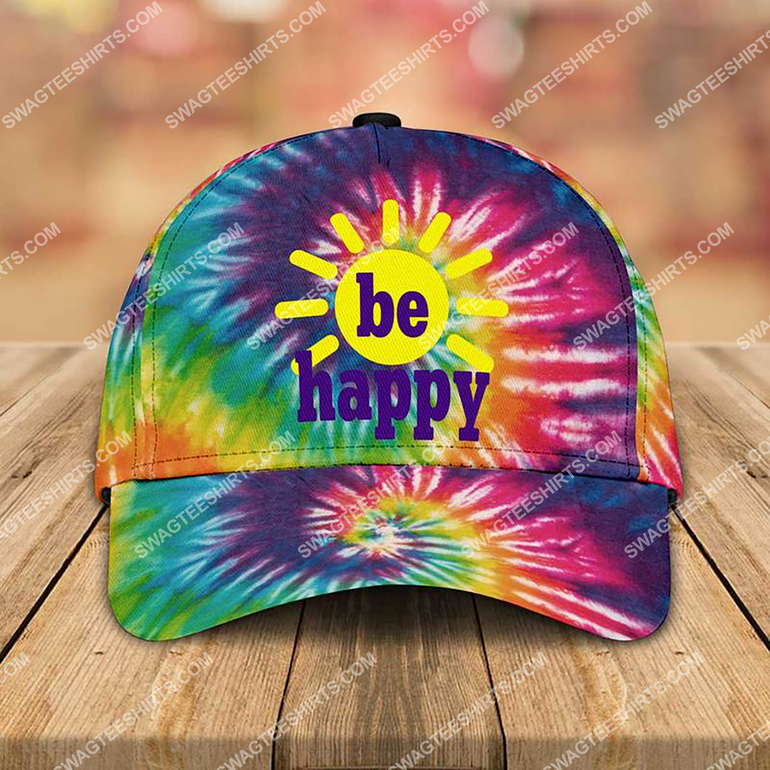 be happy tie-dye colorful all over printed classic cap 3 - Copy (2)