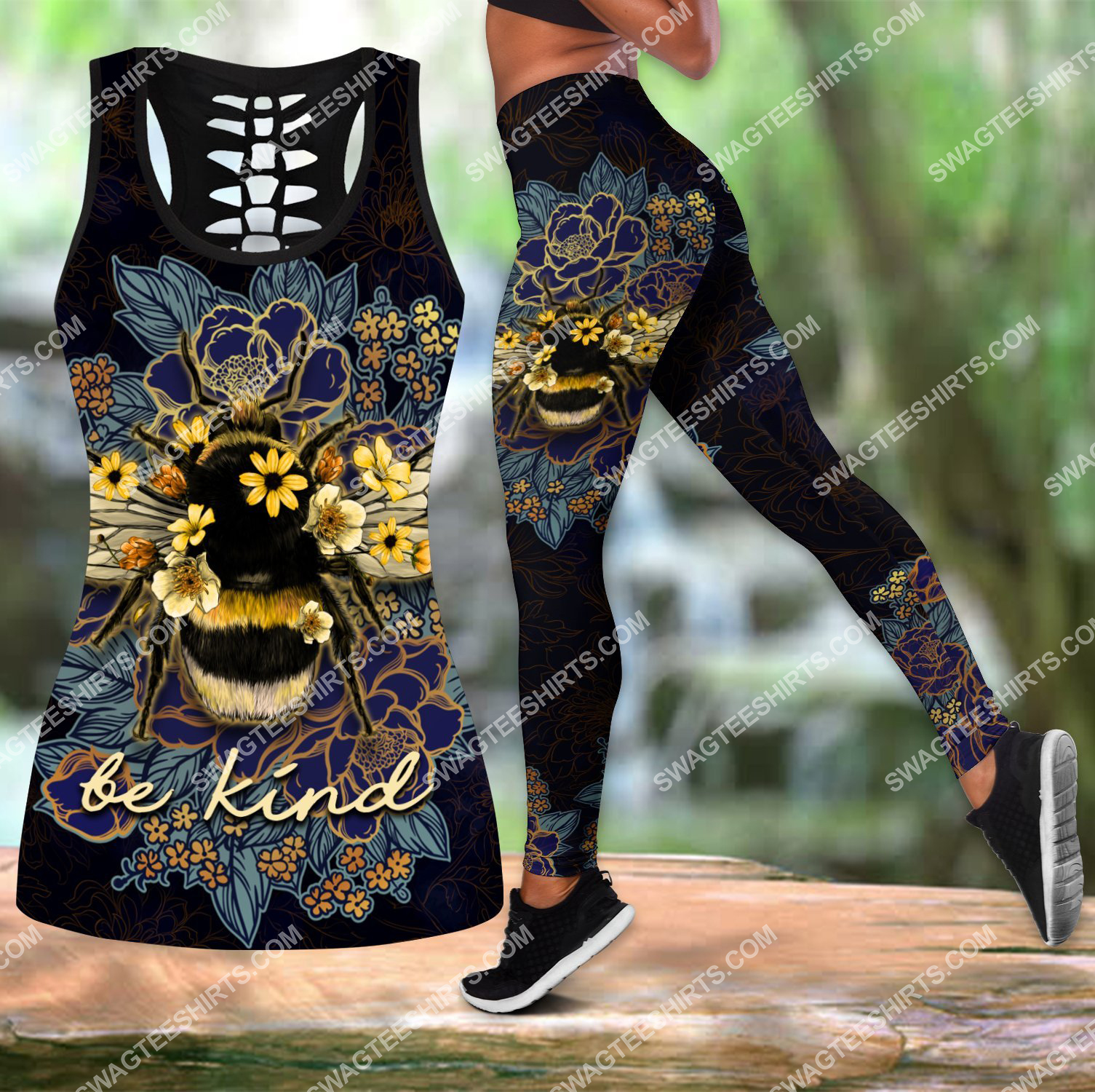 be kind bee floral all over printed set sports outfit 3