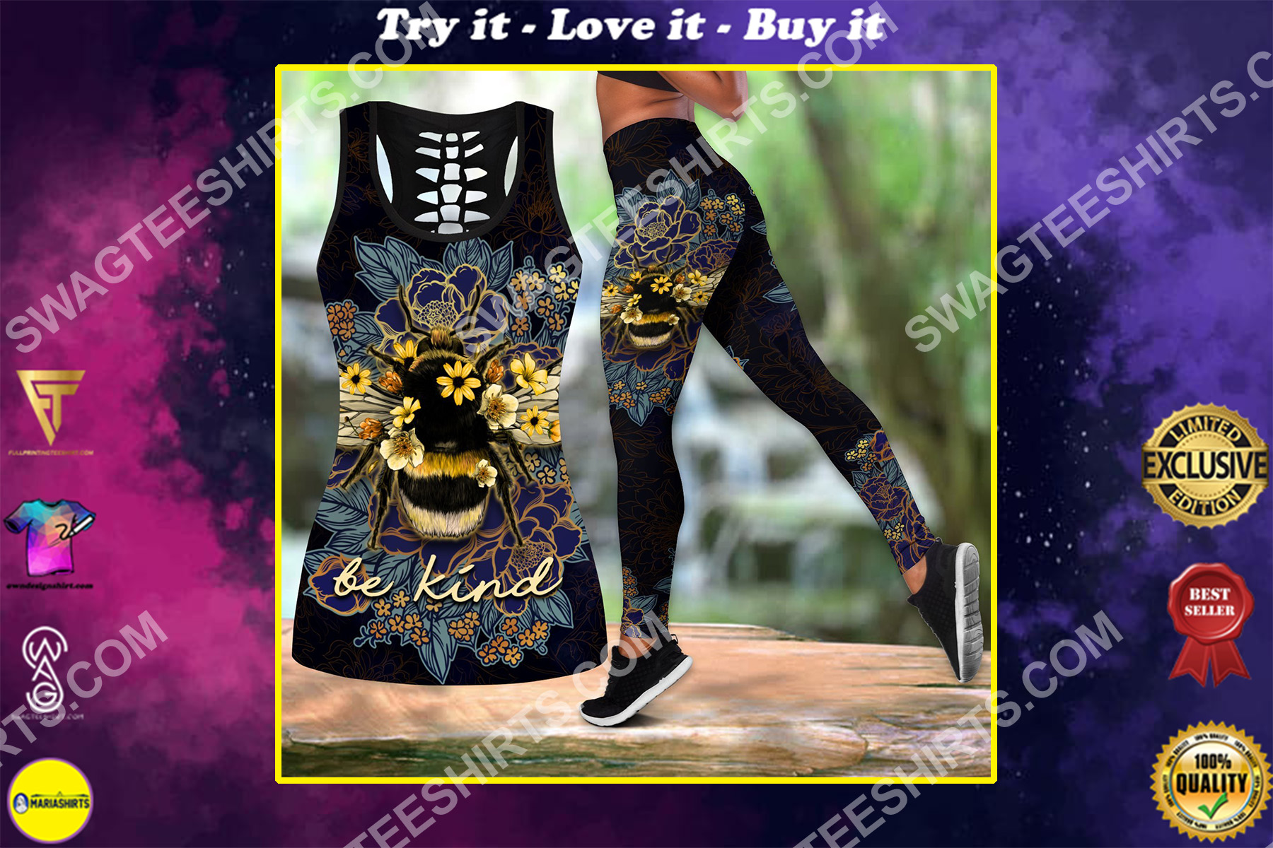be kind bee floral all over printed set sports outfit