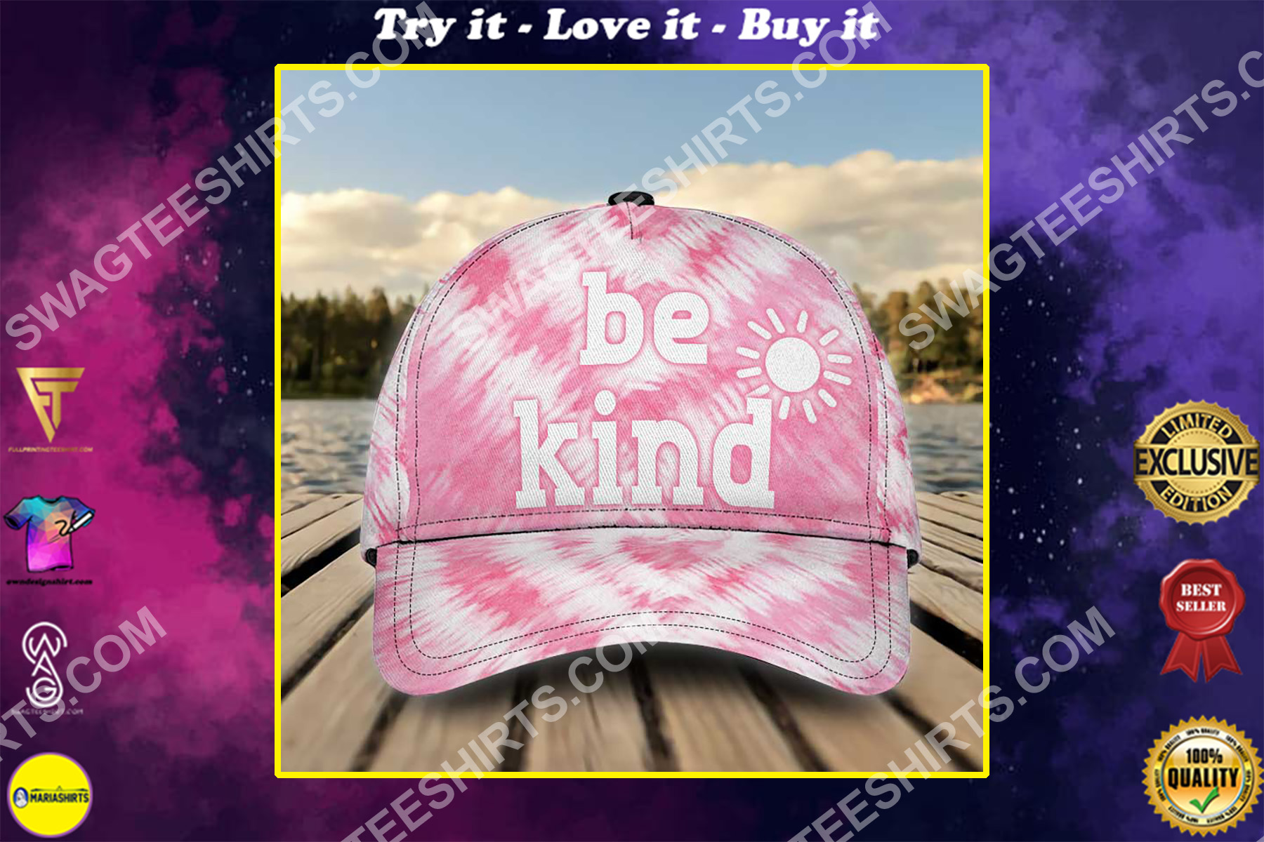 be kind tie-dye colorful all over printed classic cap