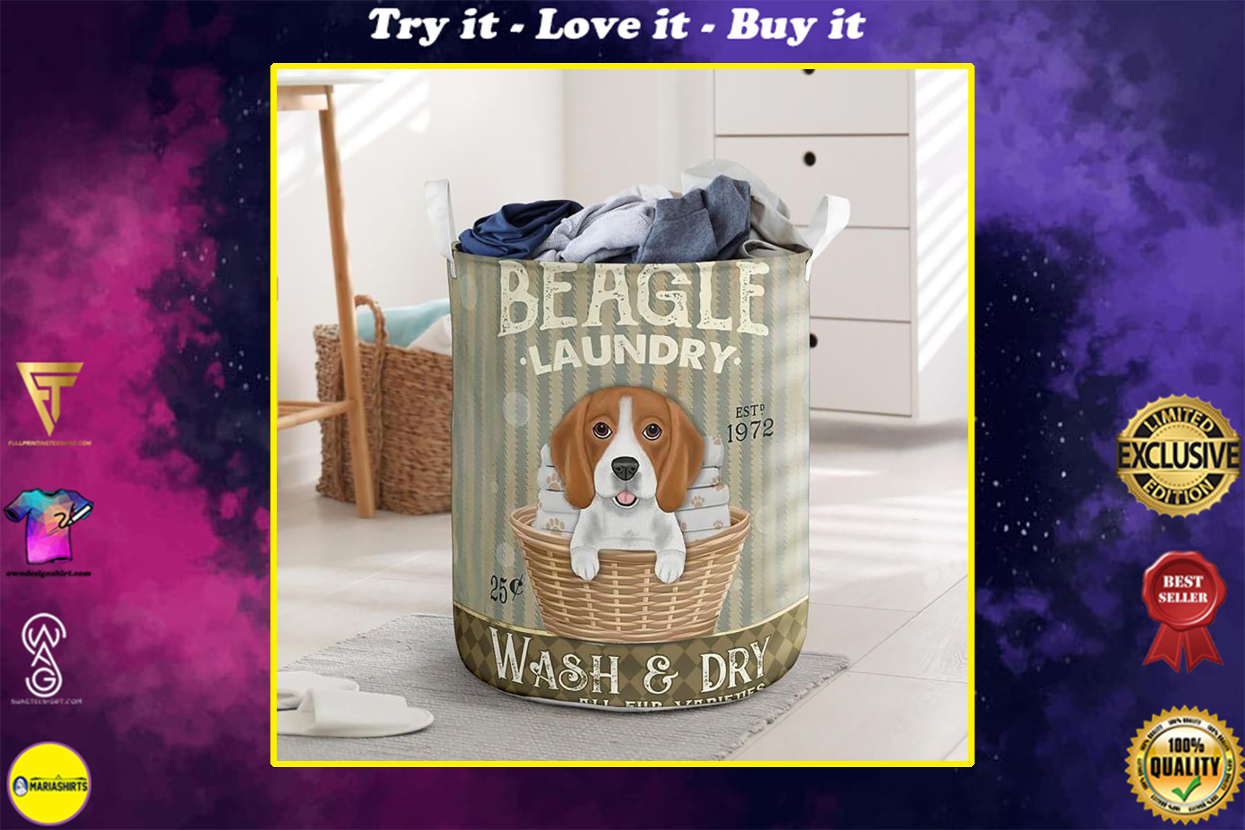beagle wash and dry all over print laundry basket
