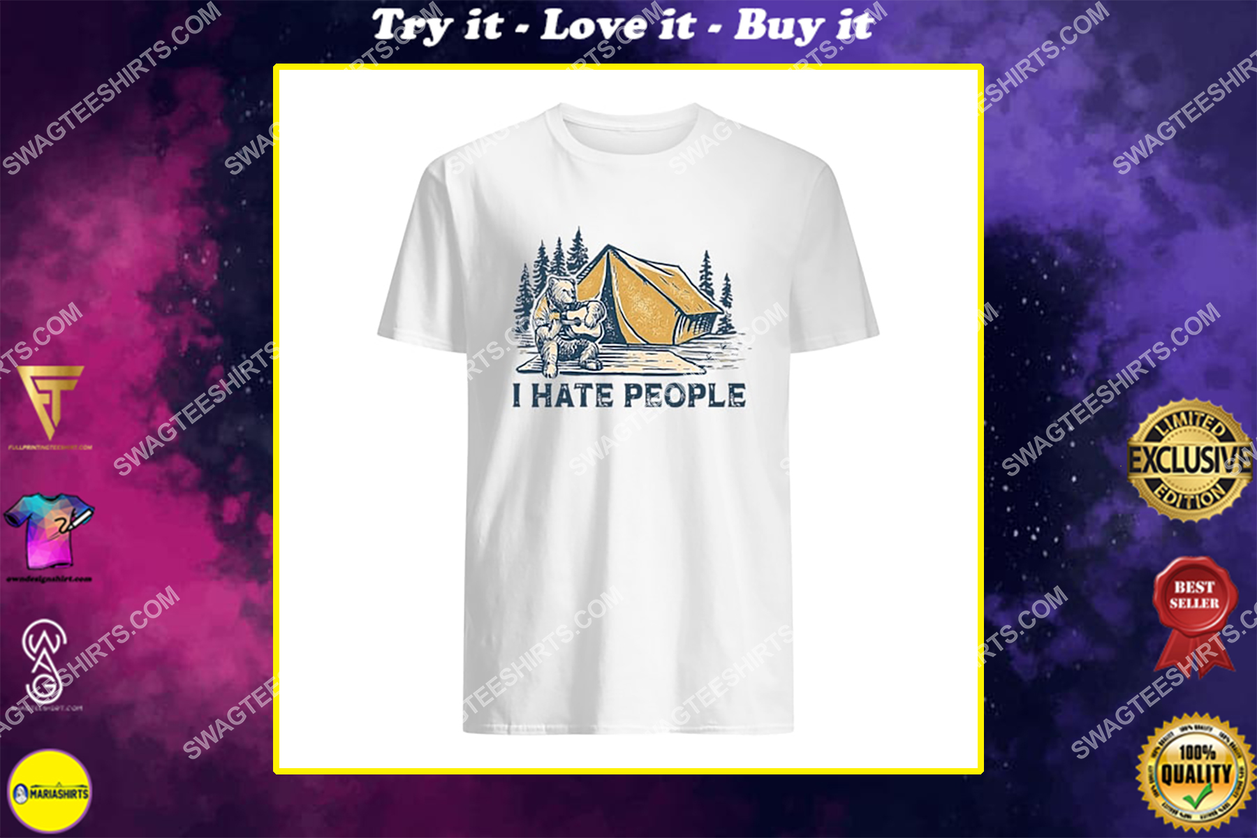 bear i hate camping for camper shirt