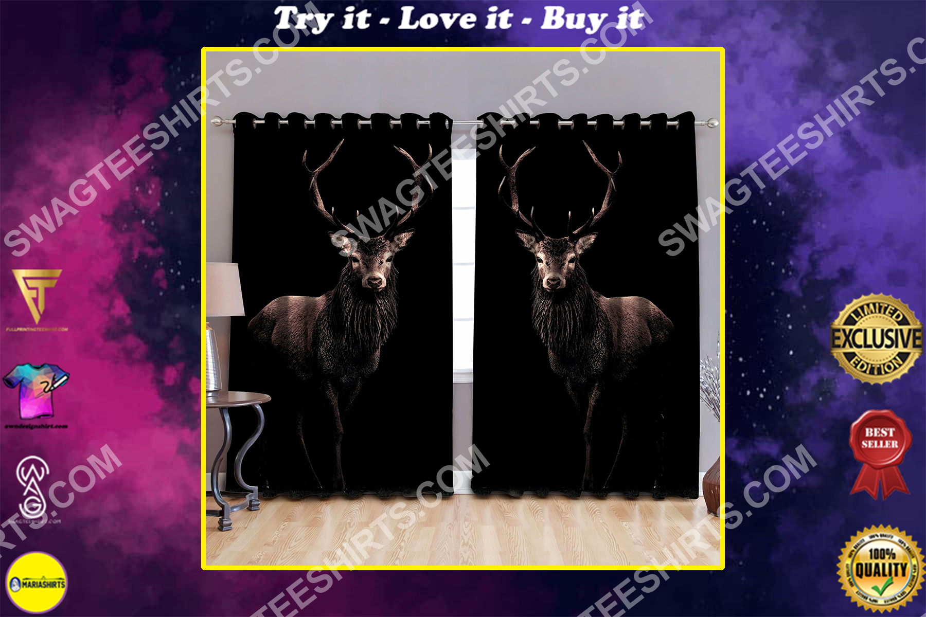 beautiful deer all over printed window curtains