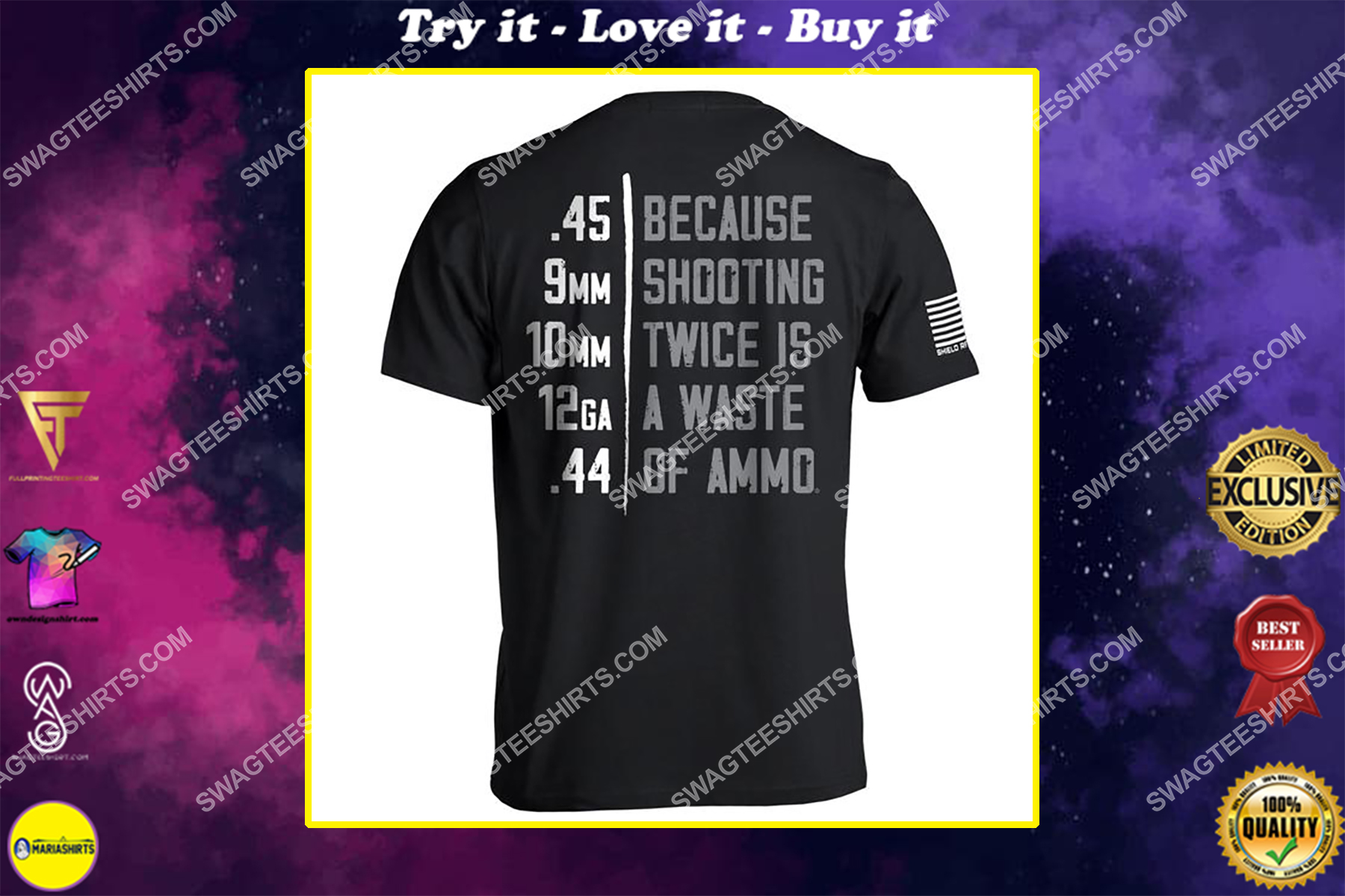 because shooting twice is a waste of ammo gun control political shirt