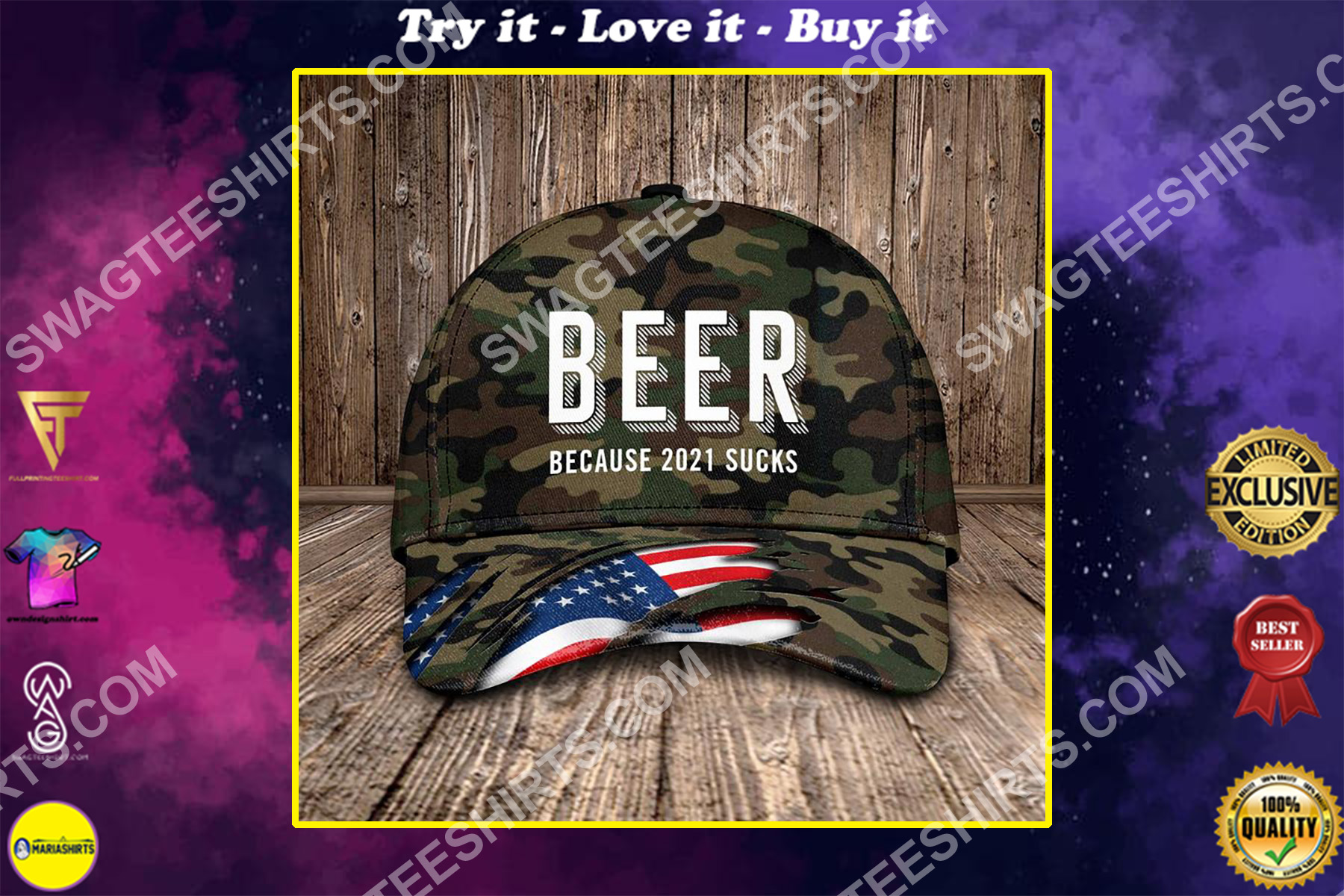 beer because 2021 sucks all over printed classic cap