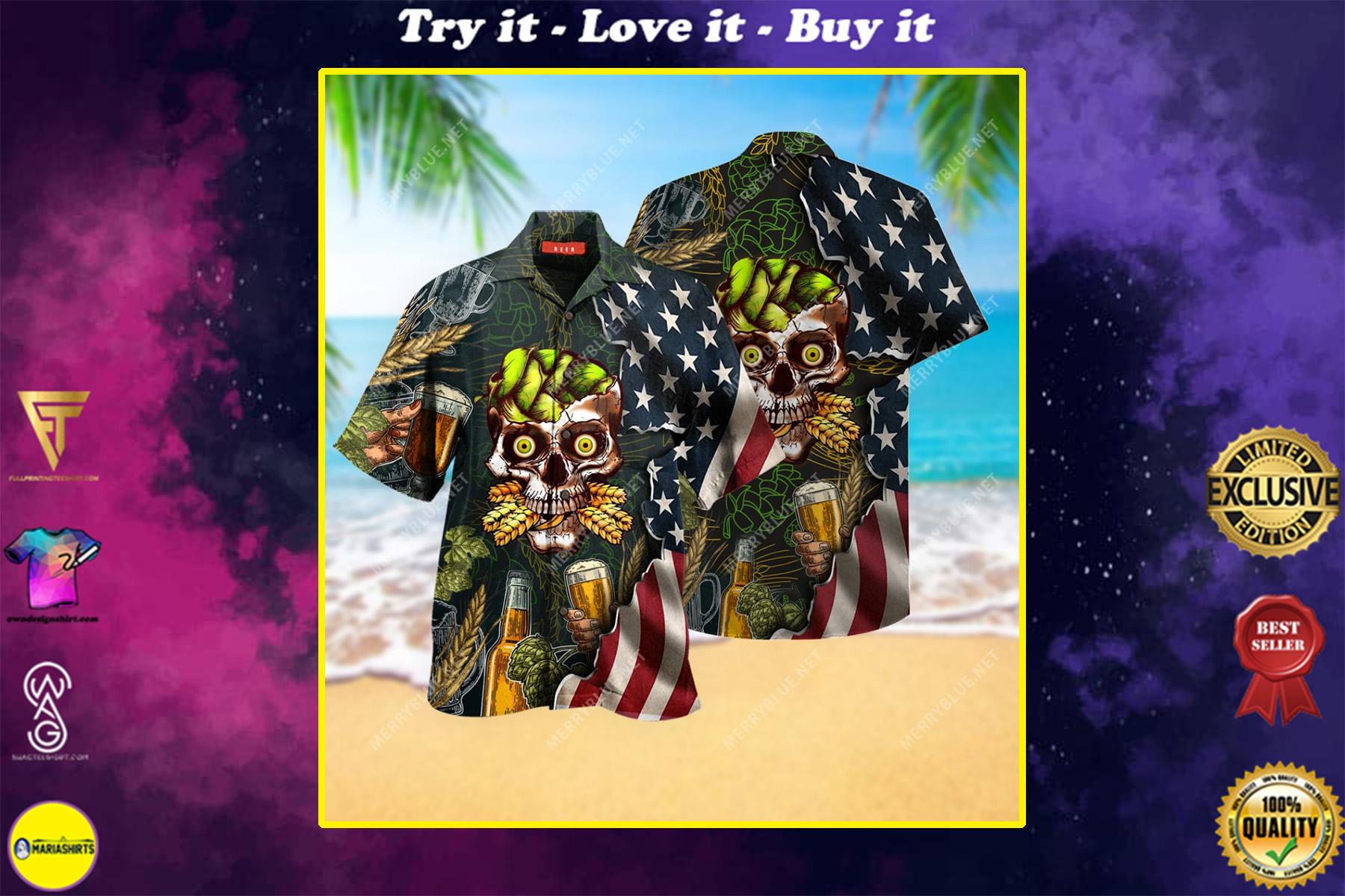 beer skull party all over printed hawaiian shirt