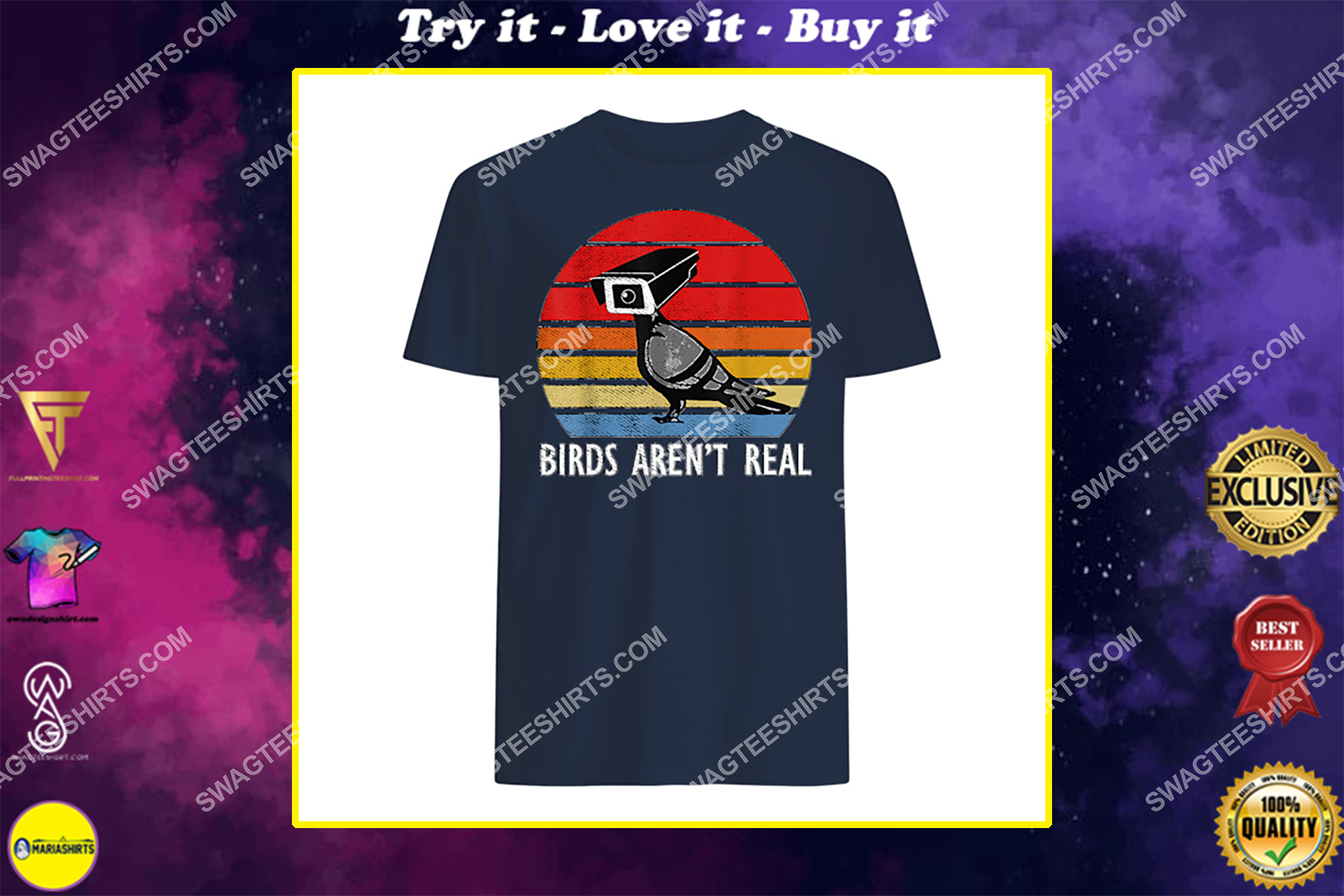 birds are not real retro funny bird watching spies shirt