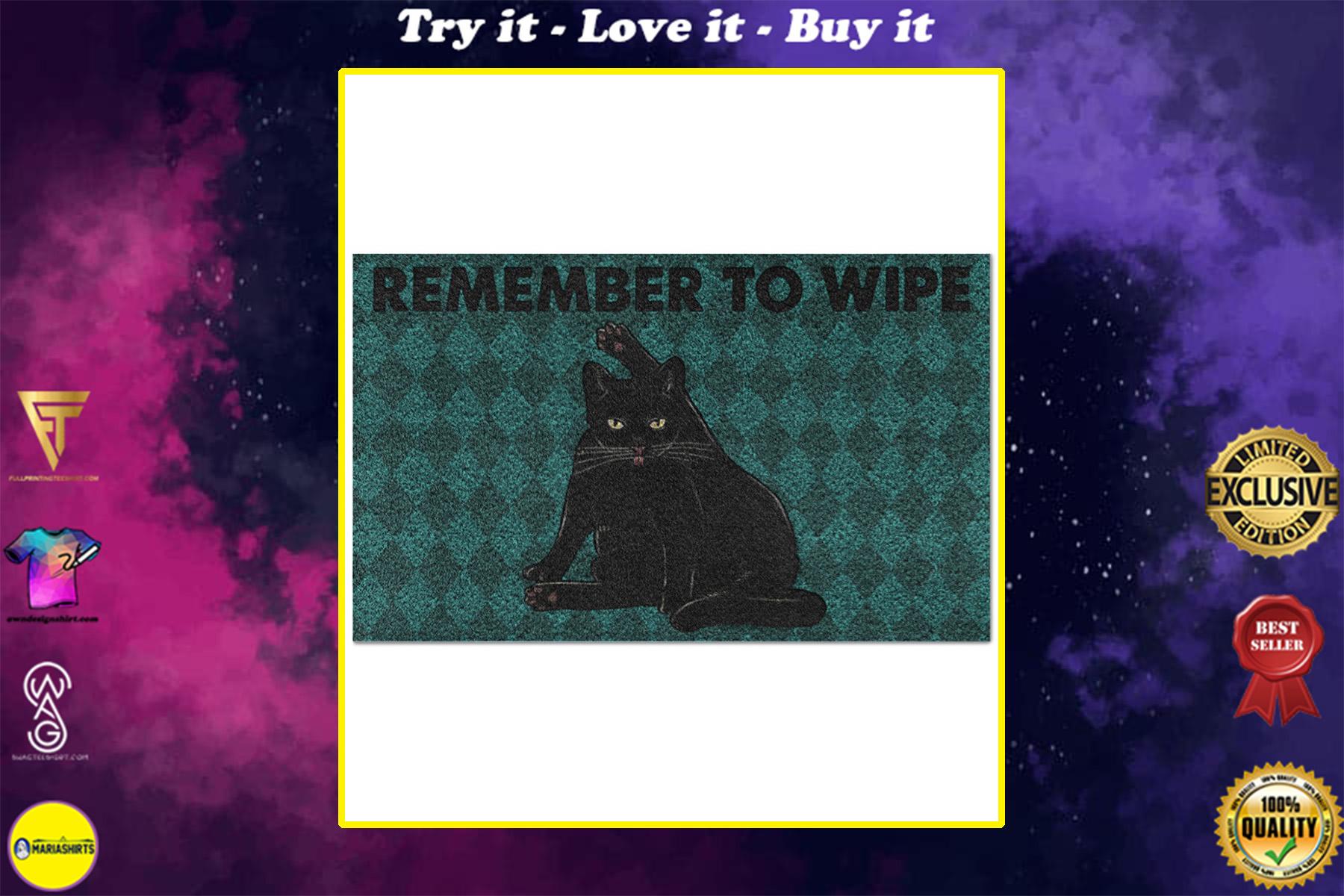 black cat remember to wipe full printing doormat