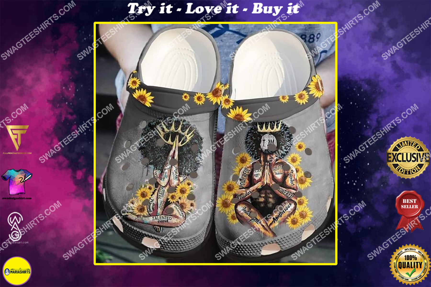 black king an black queen proud to be black all over printed crocs