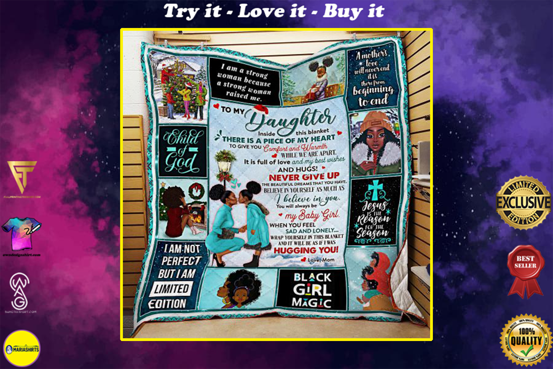 black woman to my daughter child of god all over print quilt
