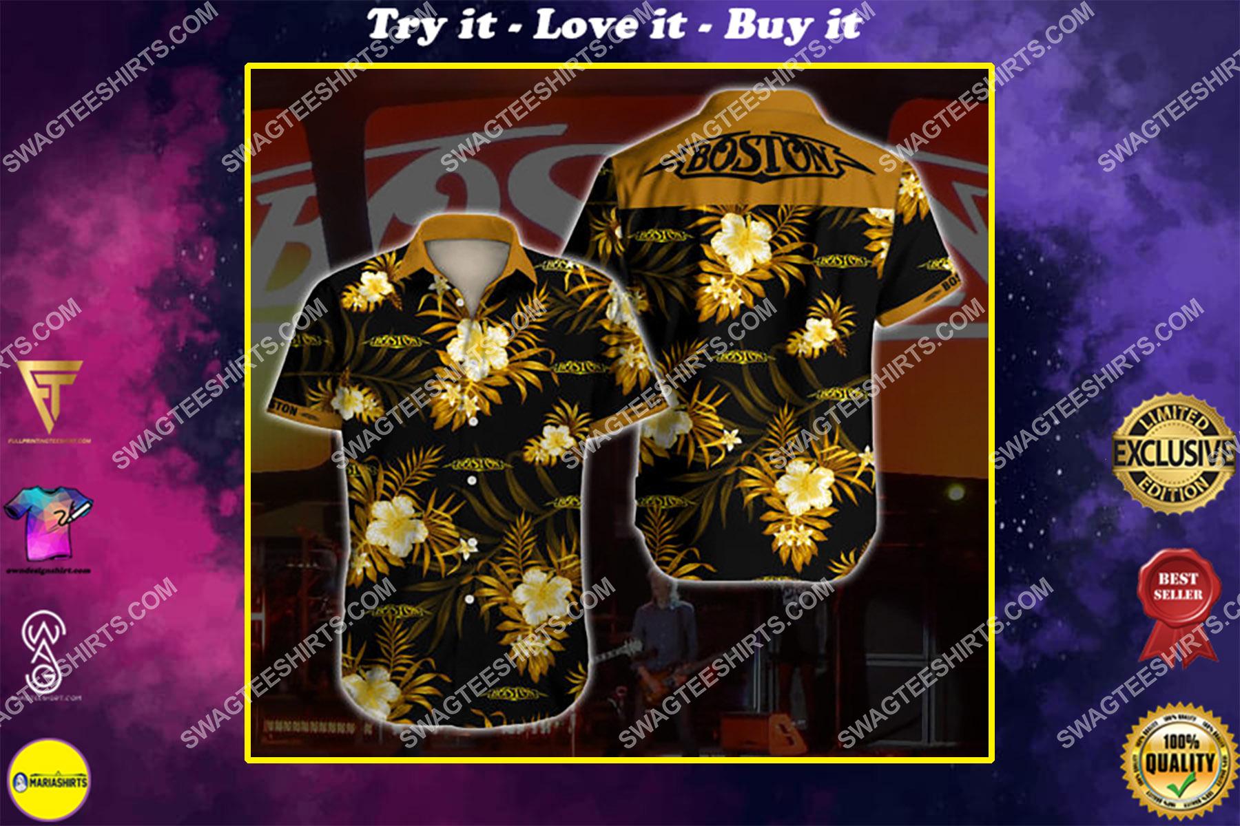 boston band all over print hawaiian shirt