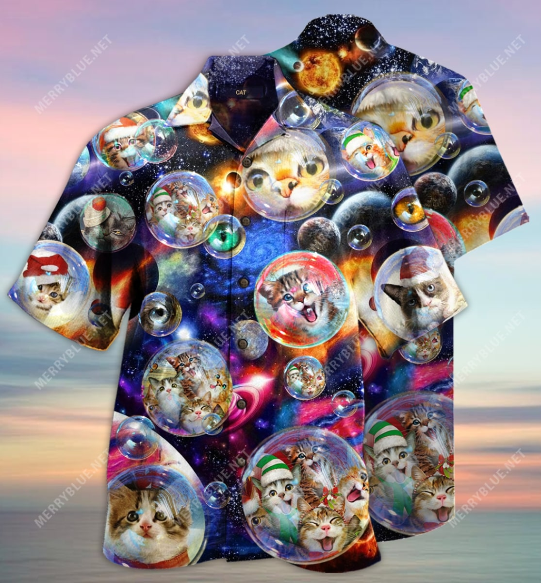 bubble cats all over printed hawaiian shirt 2