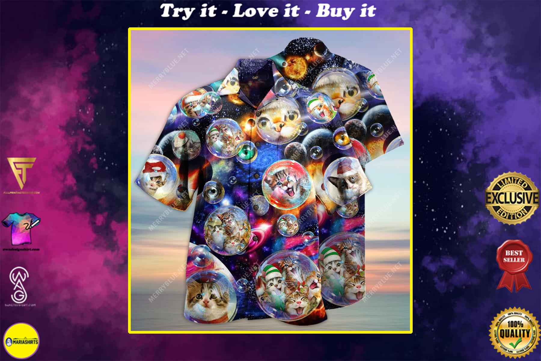 bubble cats all over printed hawaiian shirt