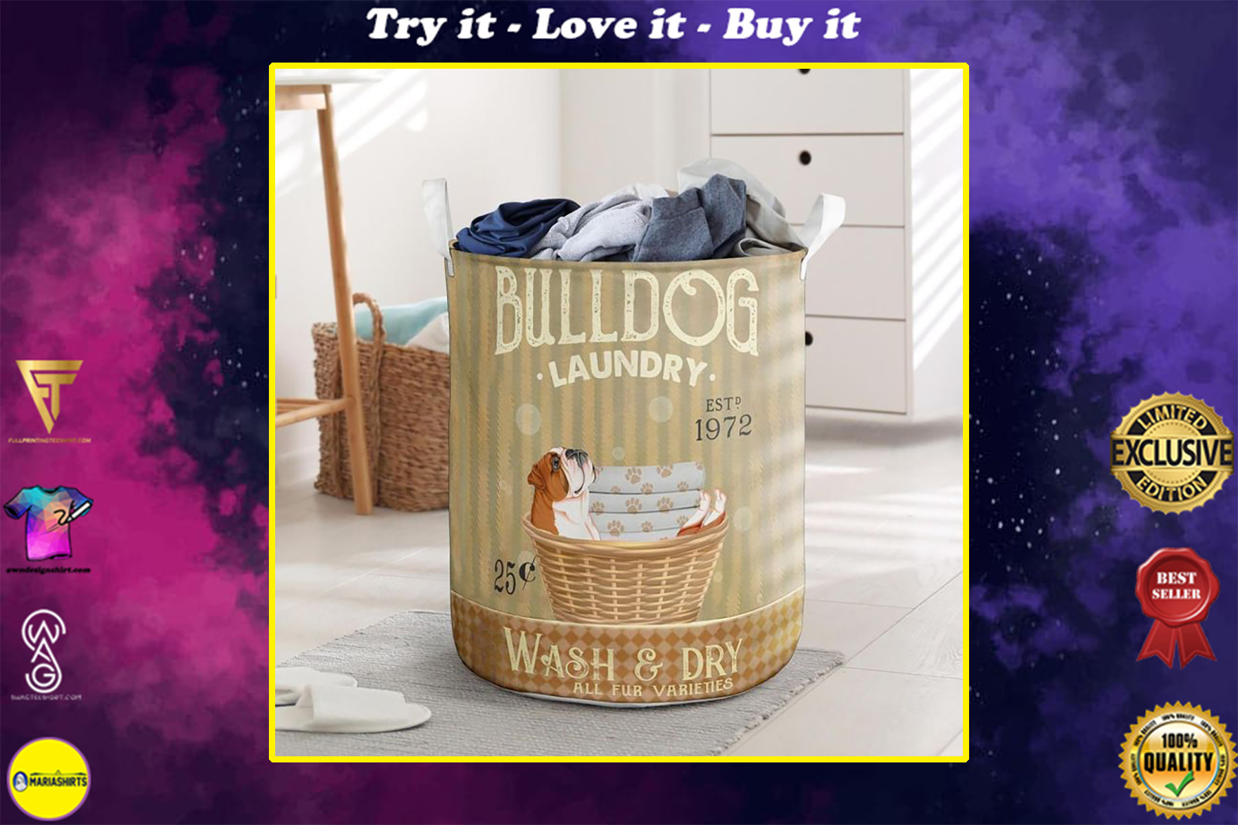 bull dog wash and dry all over print laundry basket