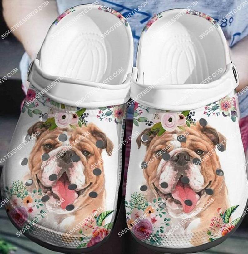 bulldog and flowers all over printed crocs crocband clog 2 - Copy