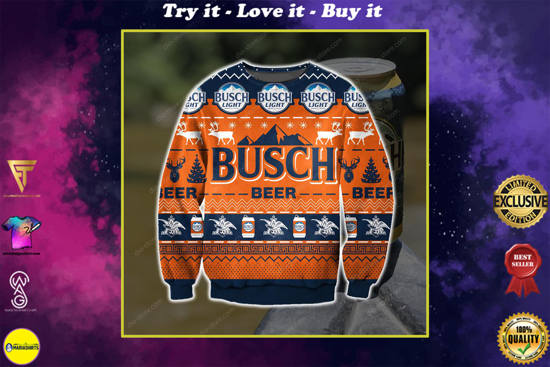 busch light busch beer full printing ugly christmas sweater
