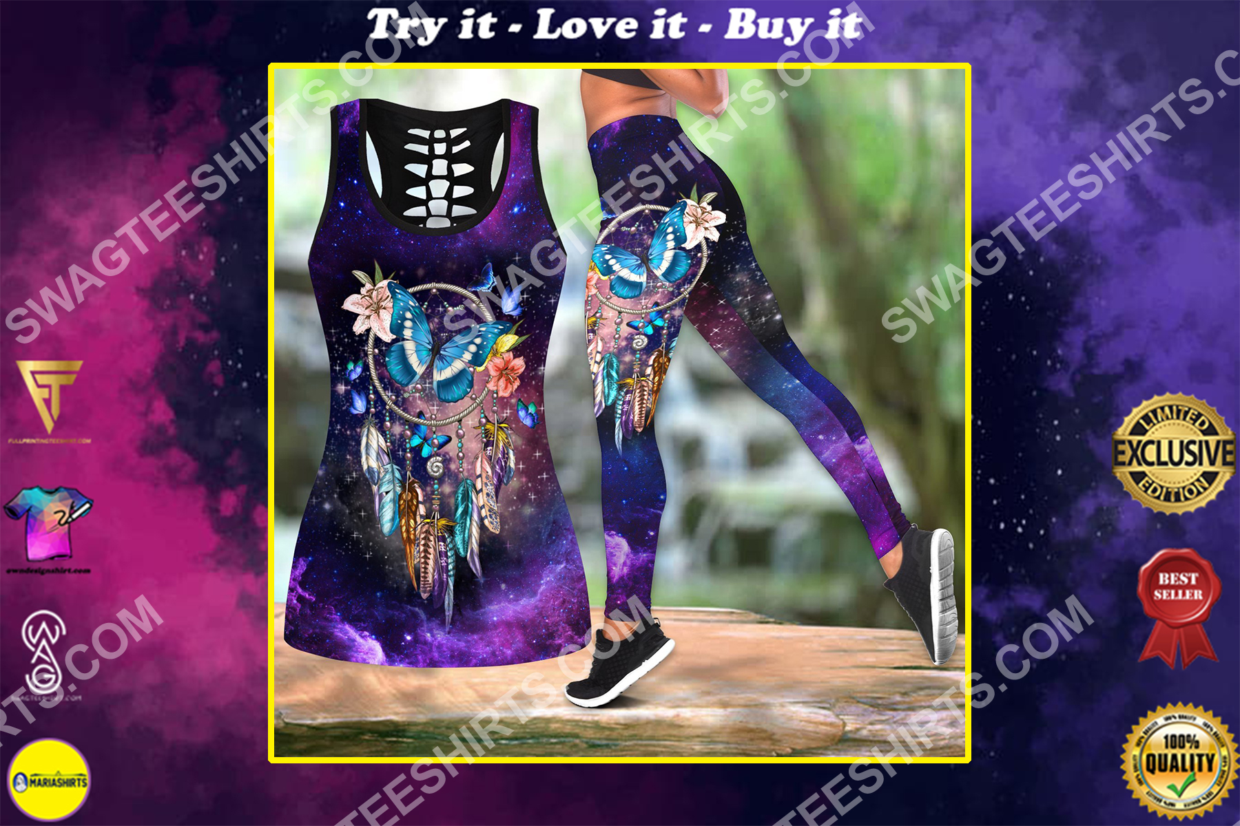 butterfly and dreamcatcher all over printed set sports outfit