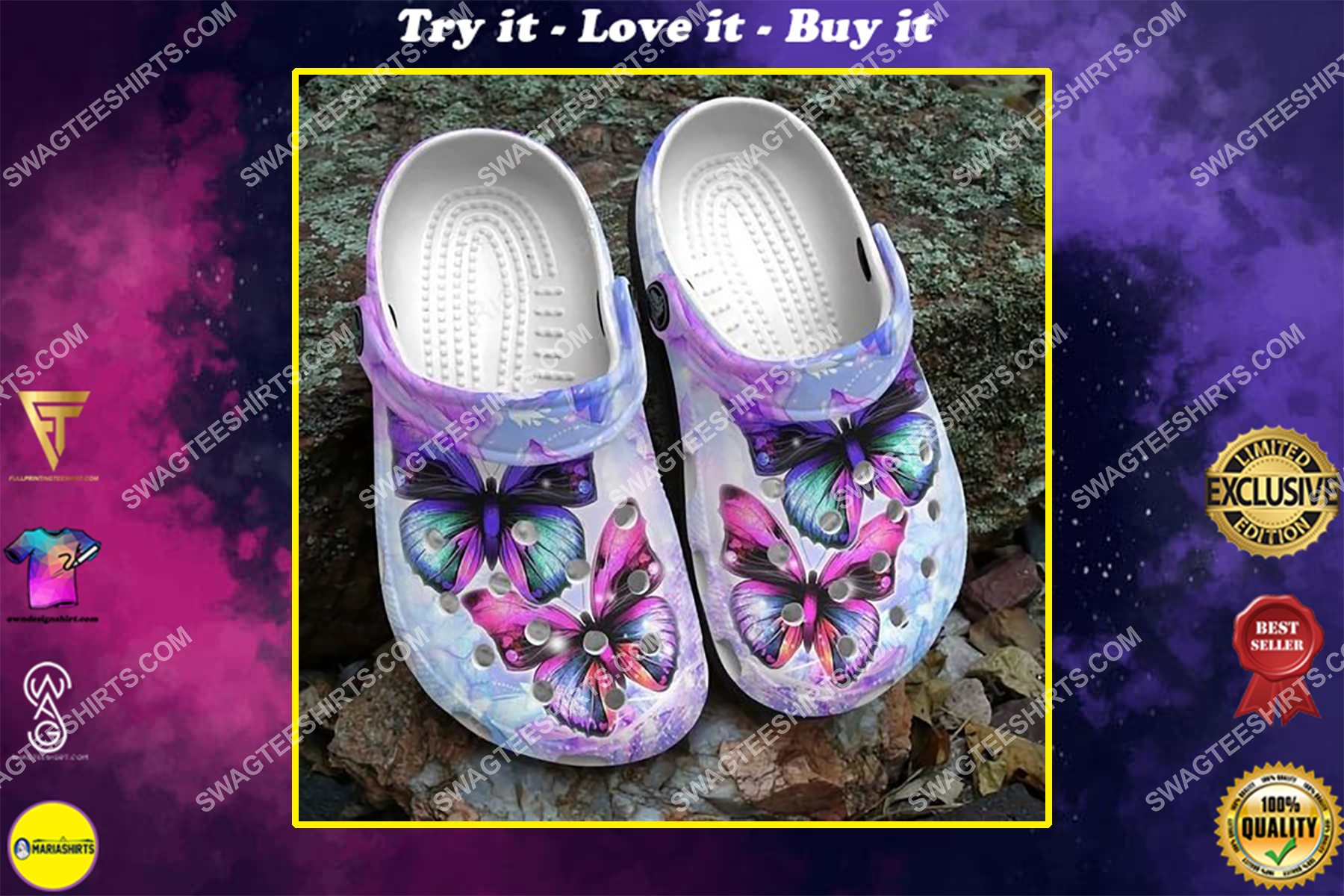 butterfly purple all over printed crocs crocband clog