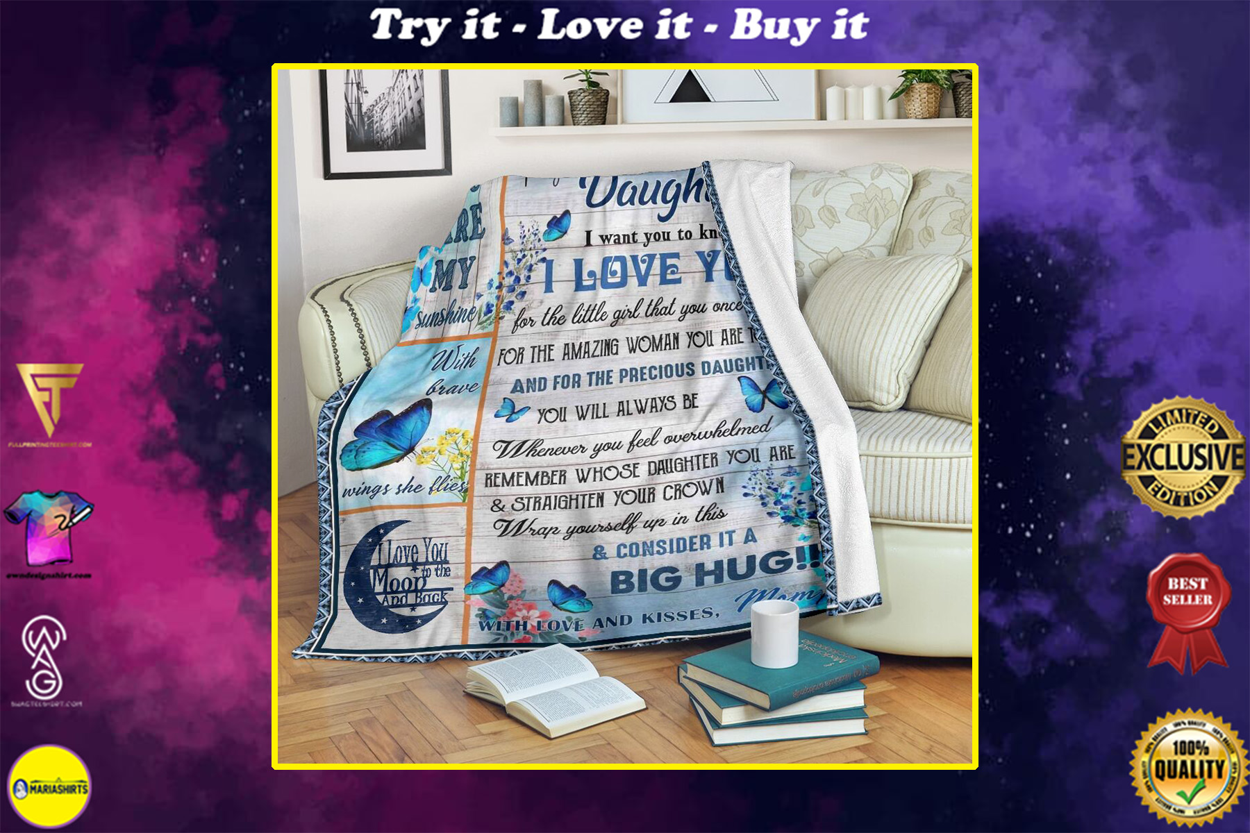 butterfly to my daughter i want you to know i love you mommy full printing blanket