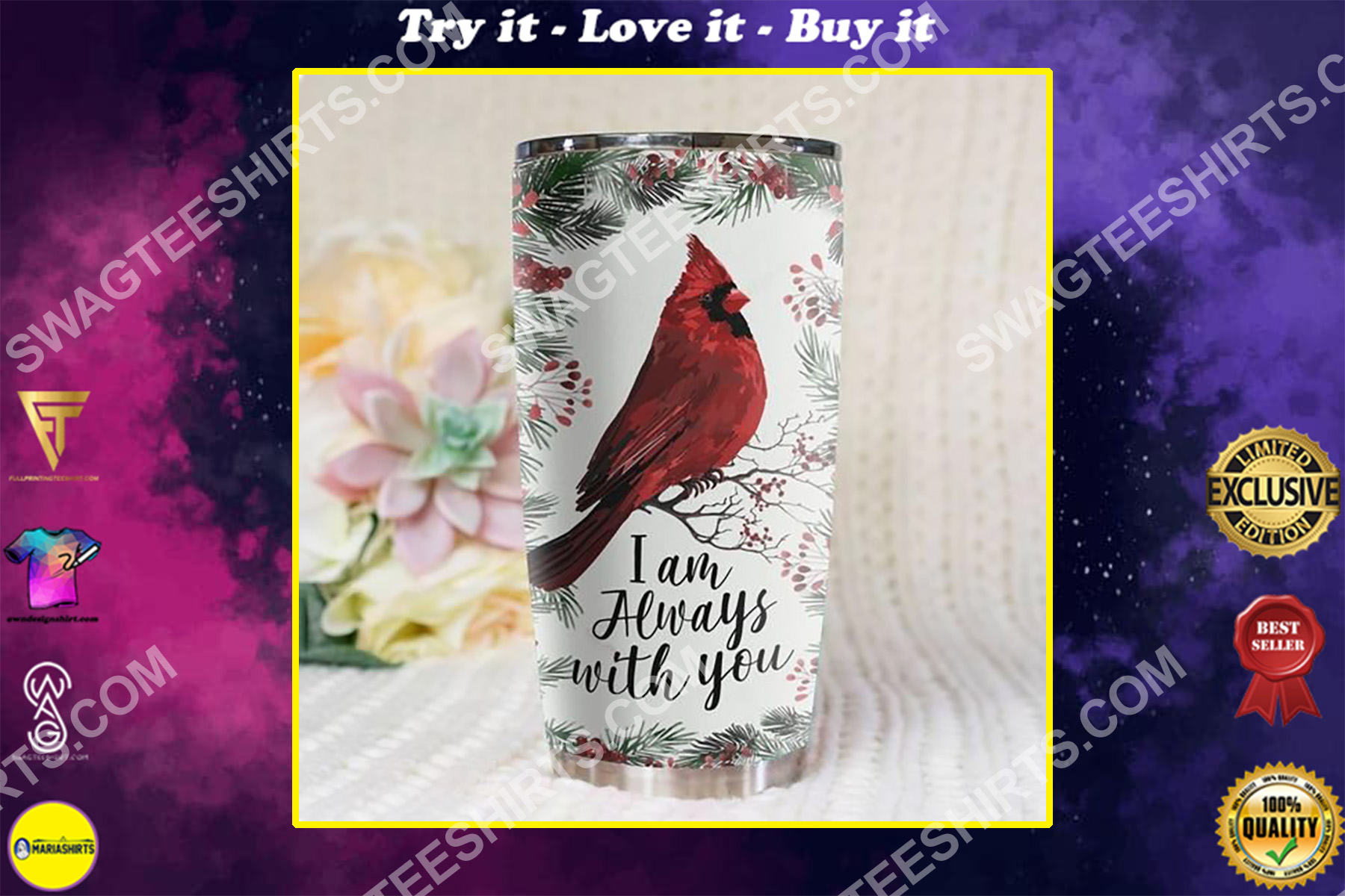 cardinal bird christmas time all over printed stainless steel tumbler