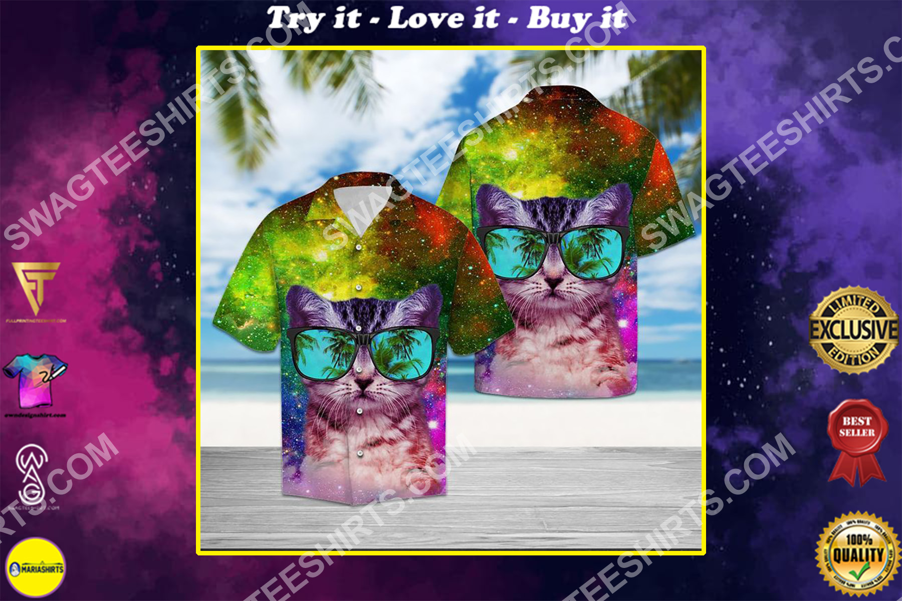 cat galaxy all over printed hawaiian shirt