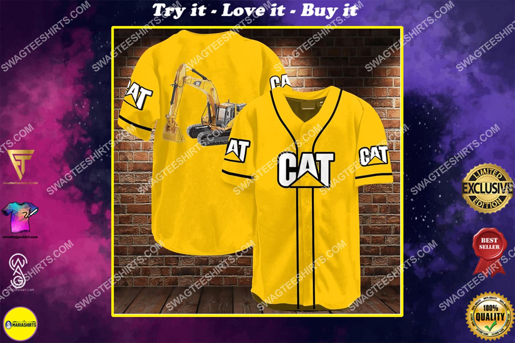 caterpillar company all over printed baseball shirt