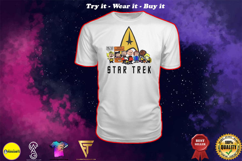 charlie brown snoopy and woodstock star trek shirt