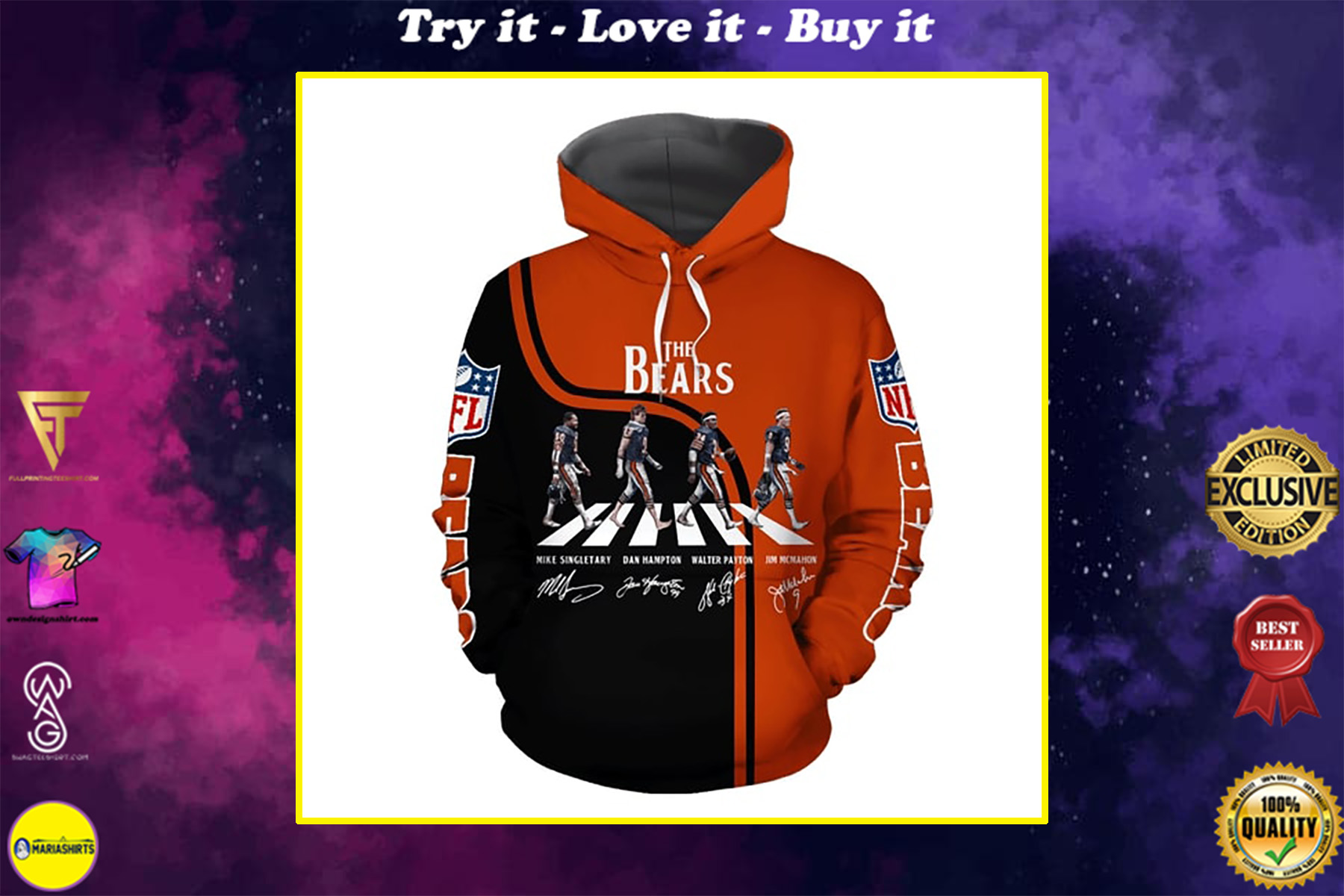 chicago bears abbey road full over printed shirt