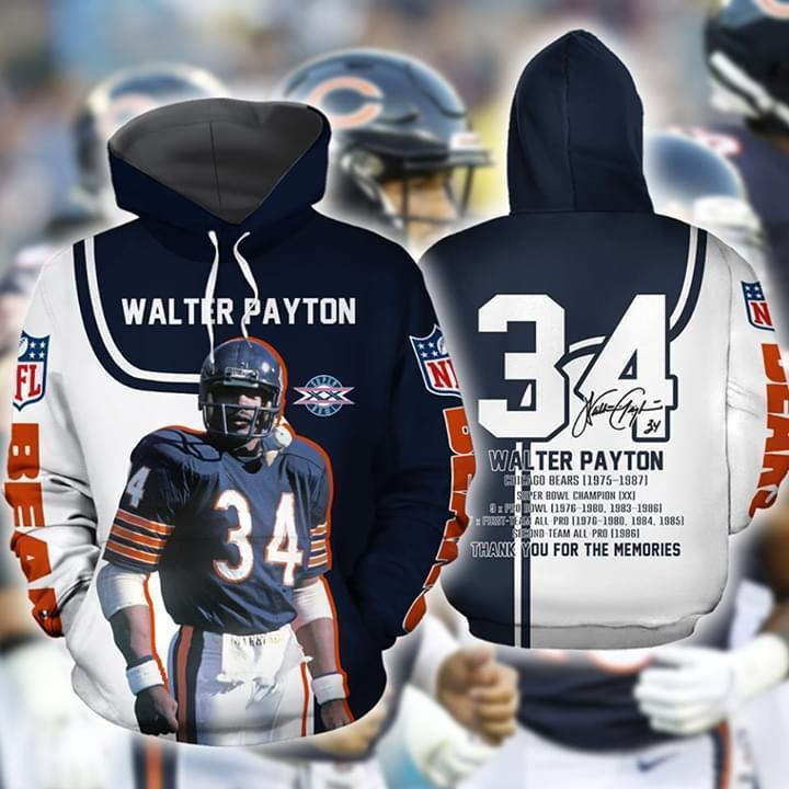 chicago bears walter payton signature thank you for memories full over printed hoodie 1