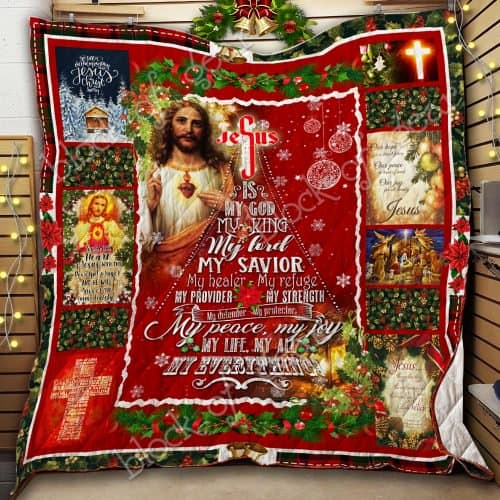 christmas Jesus is my god my king my peace my joy my everything quilt 2