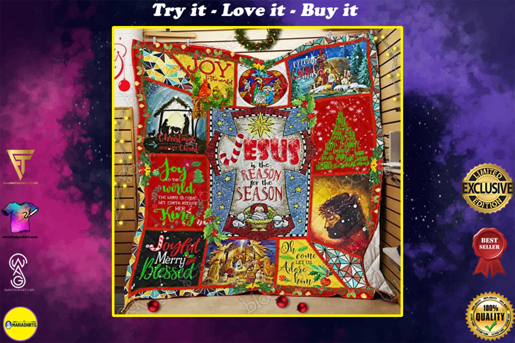 christmas begins with Christ Jesus is the reason for the season all over print quilt