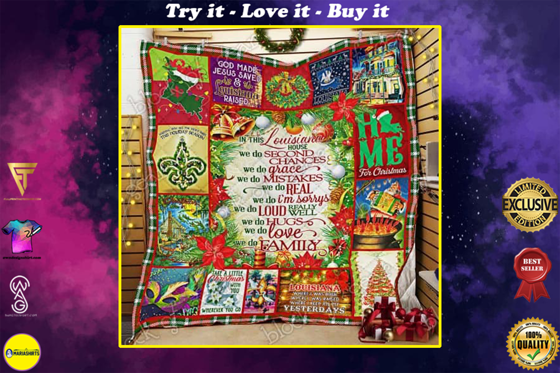 christmas in this louisiana we do second chances we do family quilt