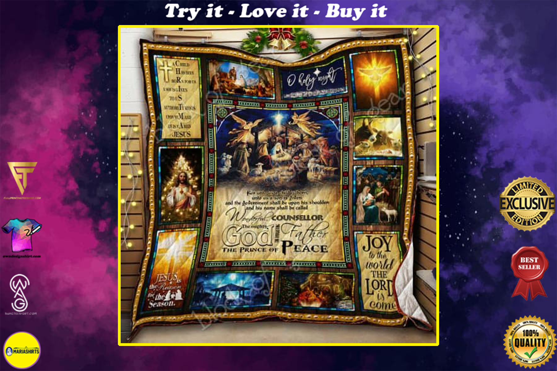 christmas joy to the world the Lord is come Jesus quilt