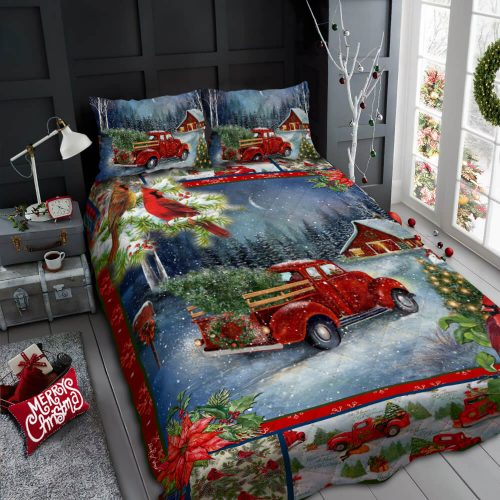 christmas red truck and cardinal all over print bedding set 2