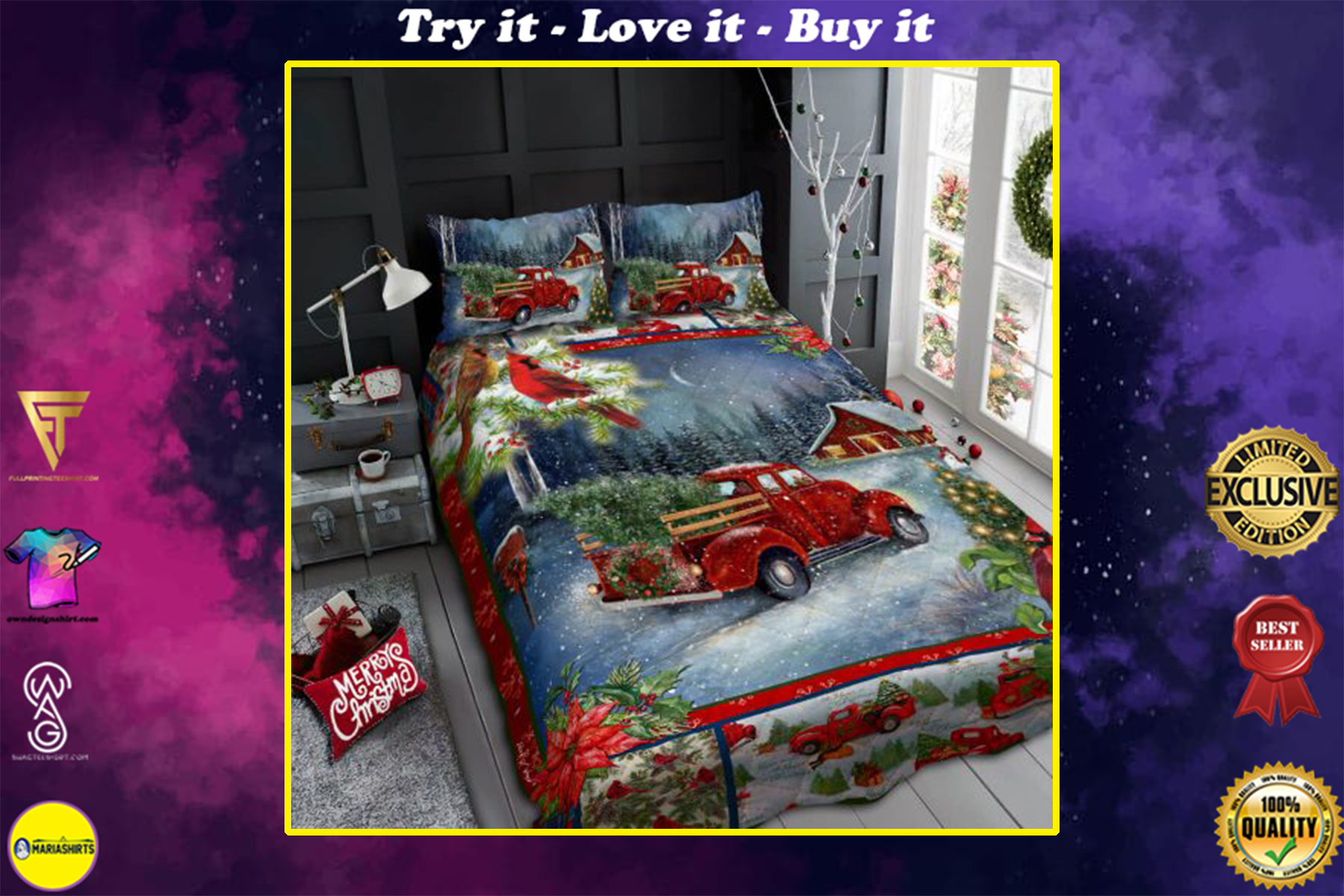 christmas red truck and cardinal all over print bedding set