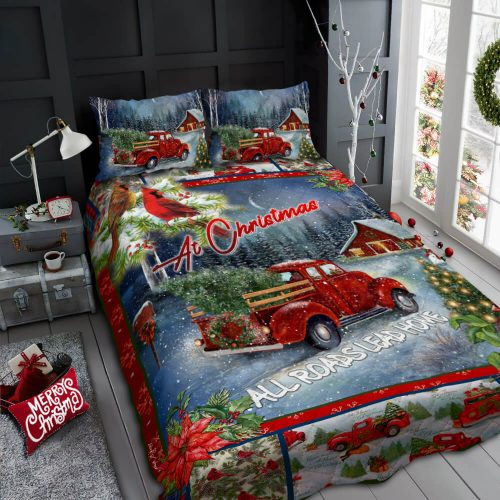 christmas red truck at christmas all roads lead home bedding set 2
