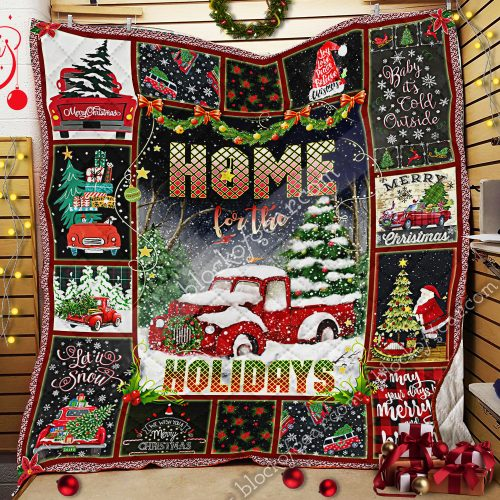christmas red truck home for the holiday all over print quilt 2