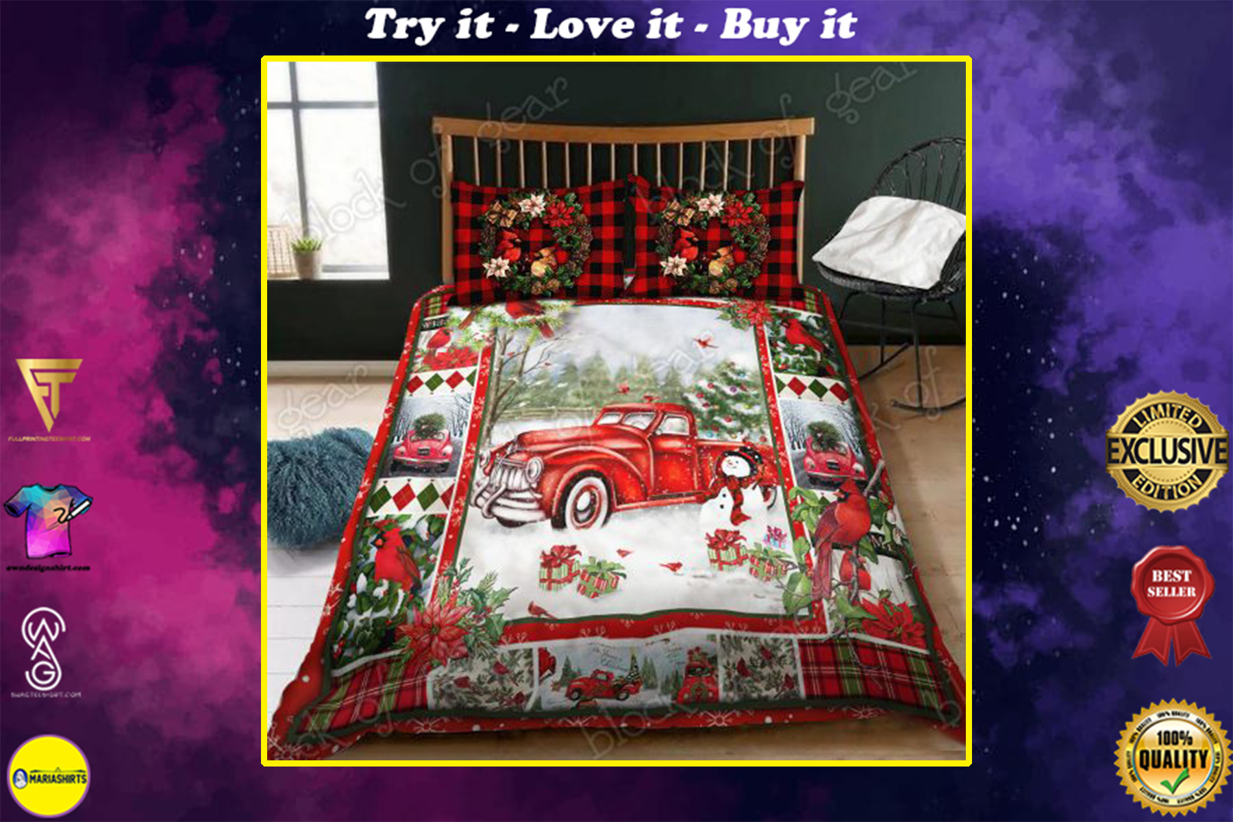 christmas red truck snowy cardinals full printing bedding set