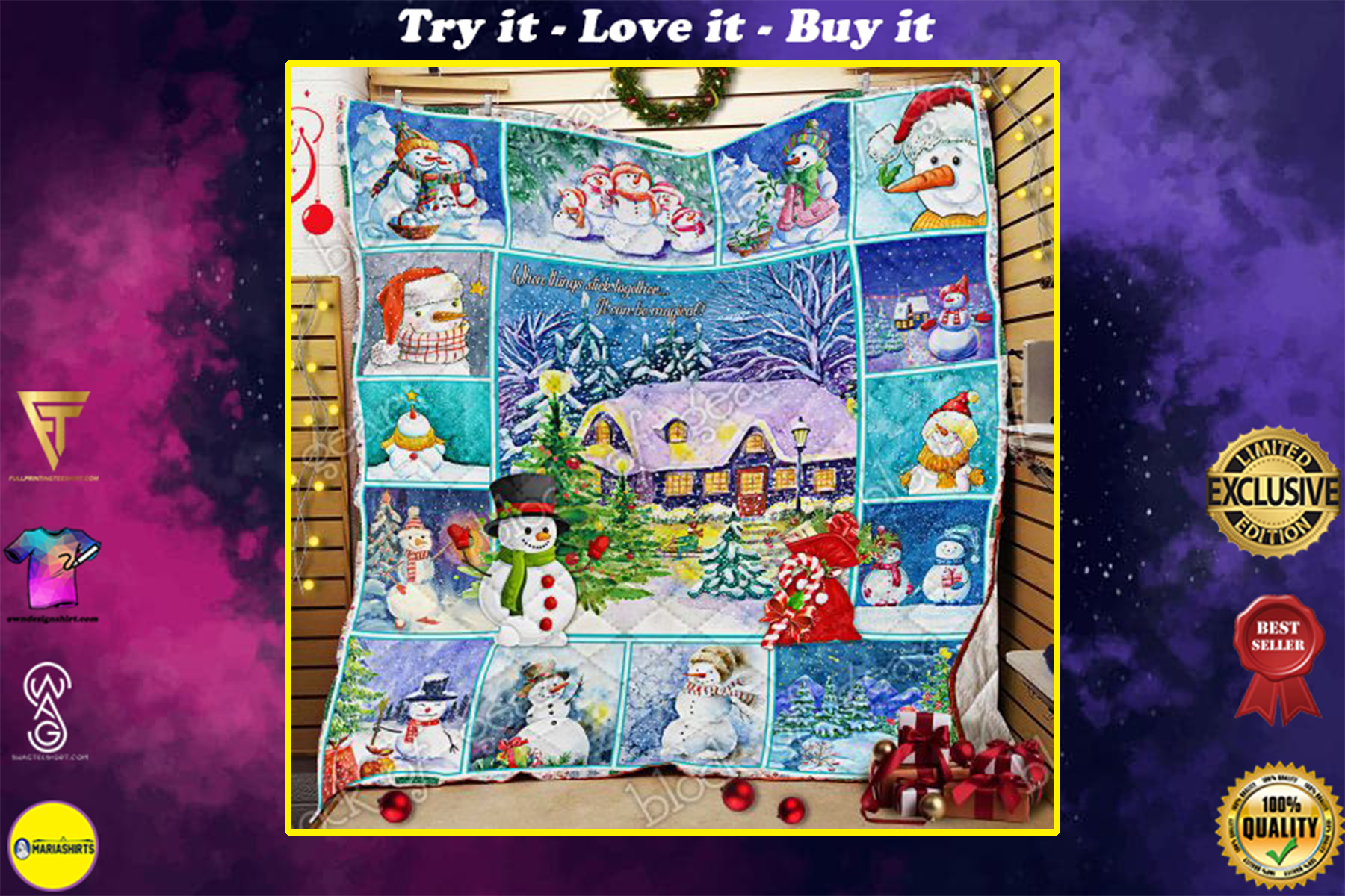 christmas snowman when things stick together all over print quilt