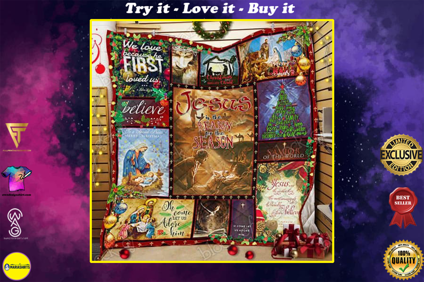 christmas time Jesus is the reason for the season all over print quilt