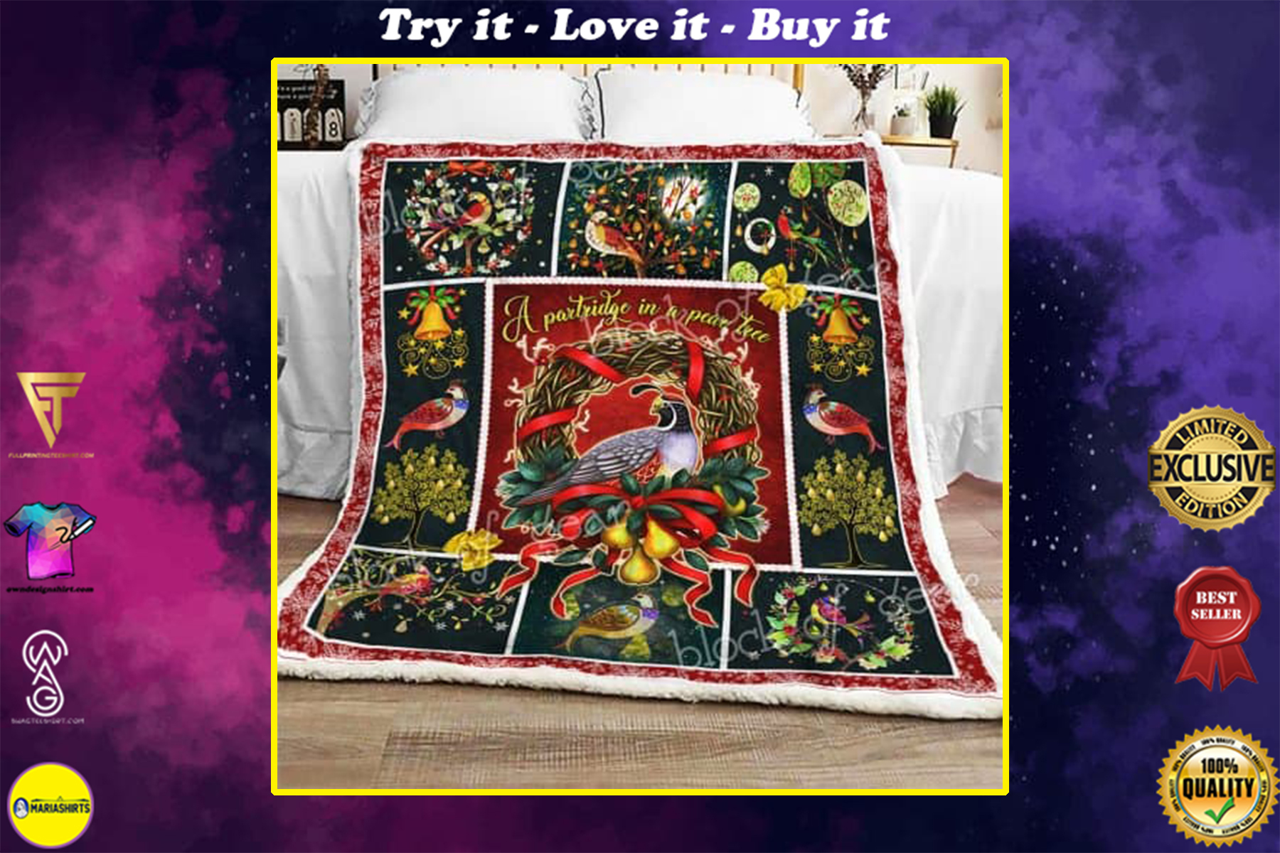 christmas time a partridge in a pear tree all over printed blanket