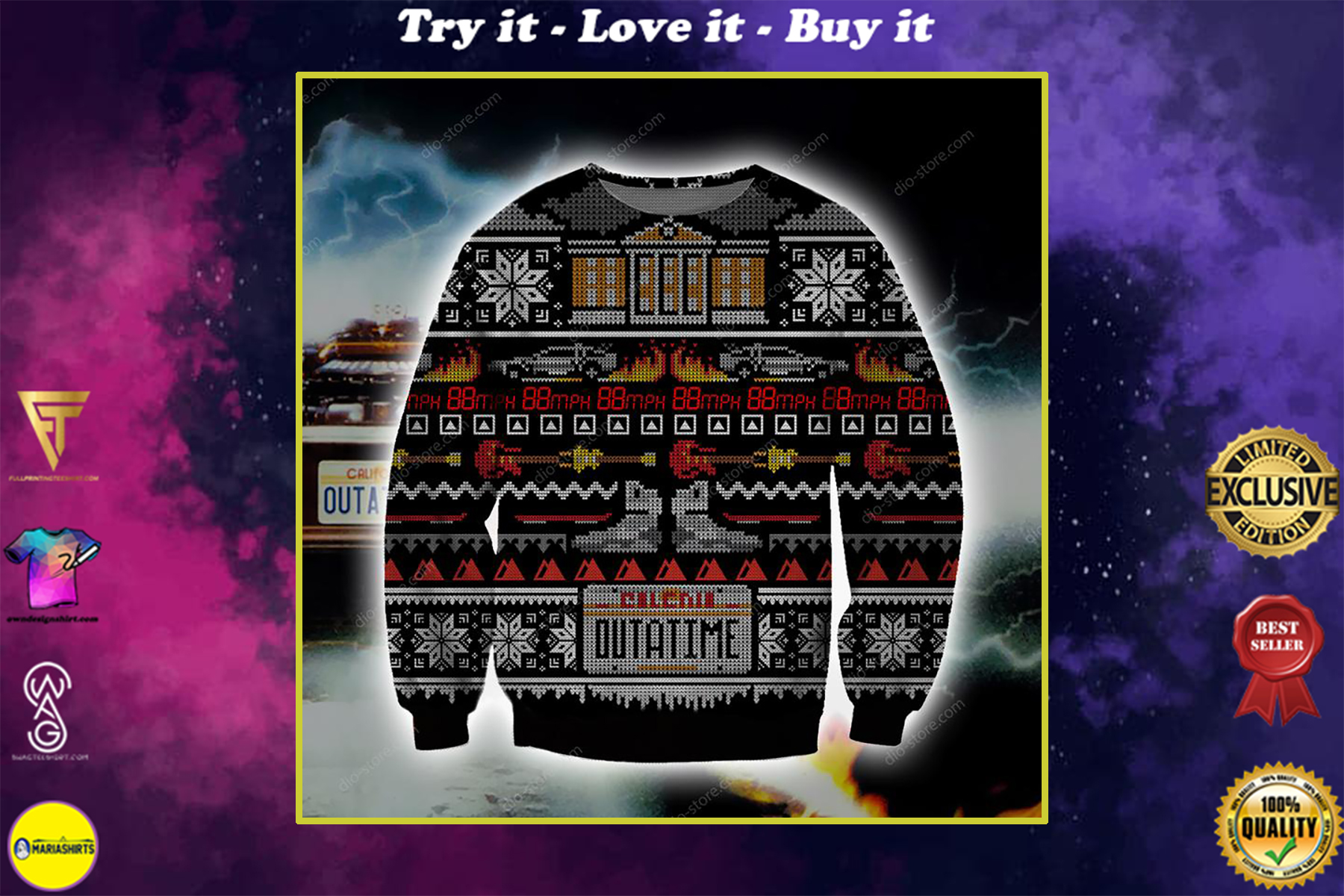 christmas time back to the future all over printed ugly christmas sweater