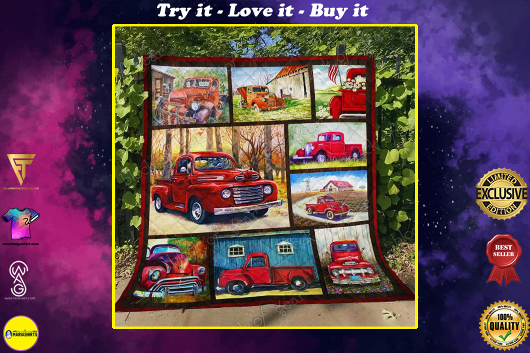 christmas time red pickup truck all over print quilt