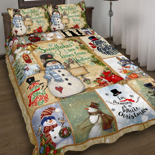 christmas time snowflakes are kisses from heaven bedding set 2