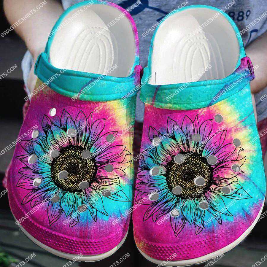 colorful hippie sunflower all over printed crocs 2