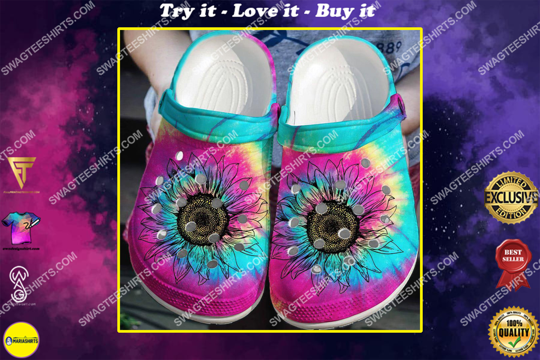 colorful hippie sunflower all over printed crocs