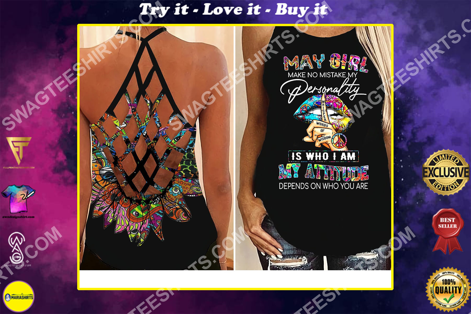 colorful sexy lips may girl makes no mistake strappy back tank top