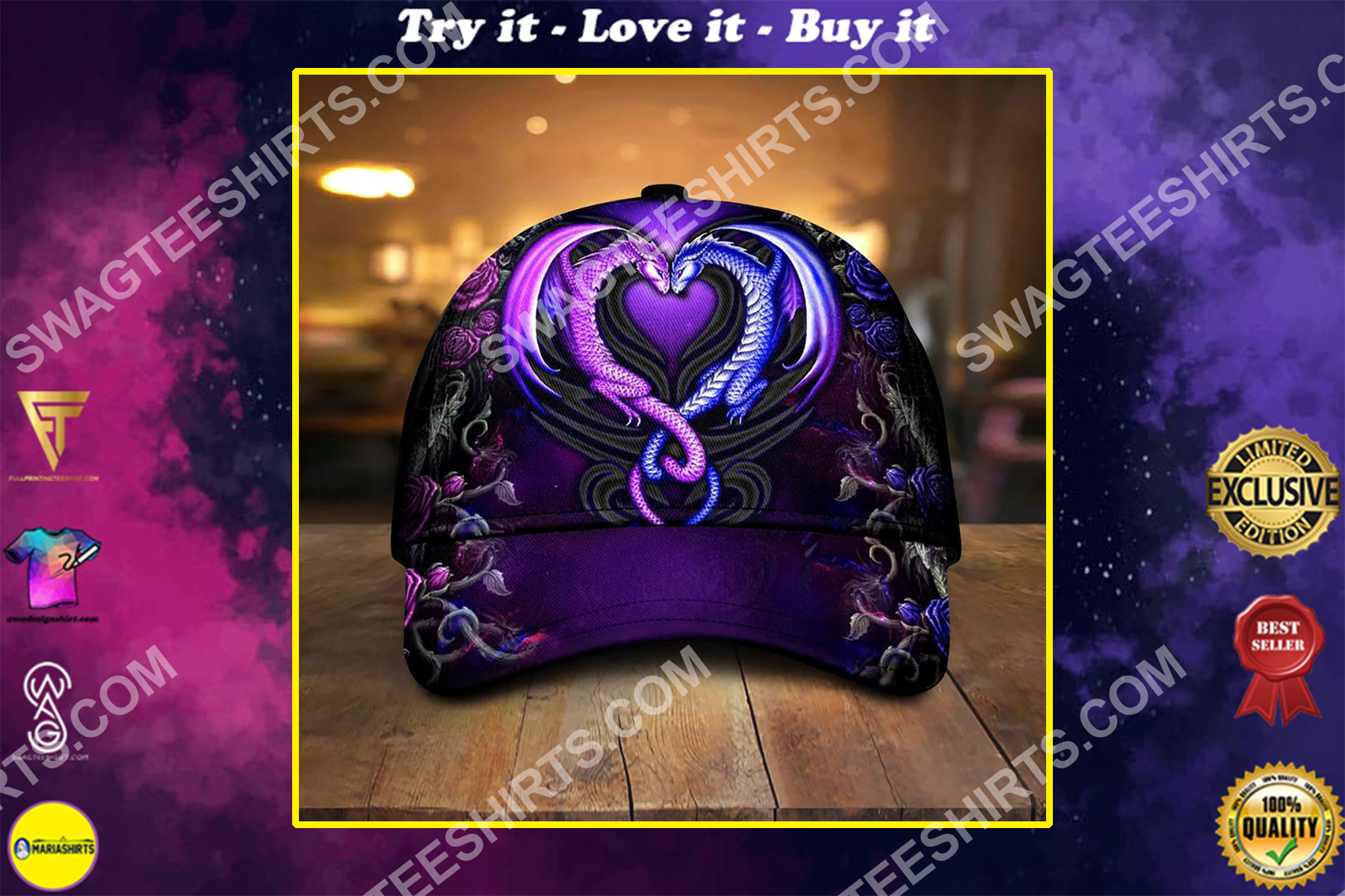 couple dragon and rose all over printed classic cap