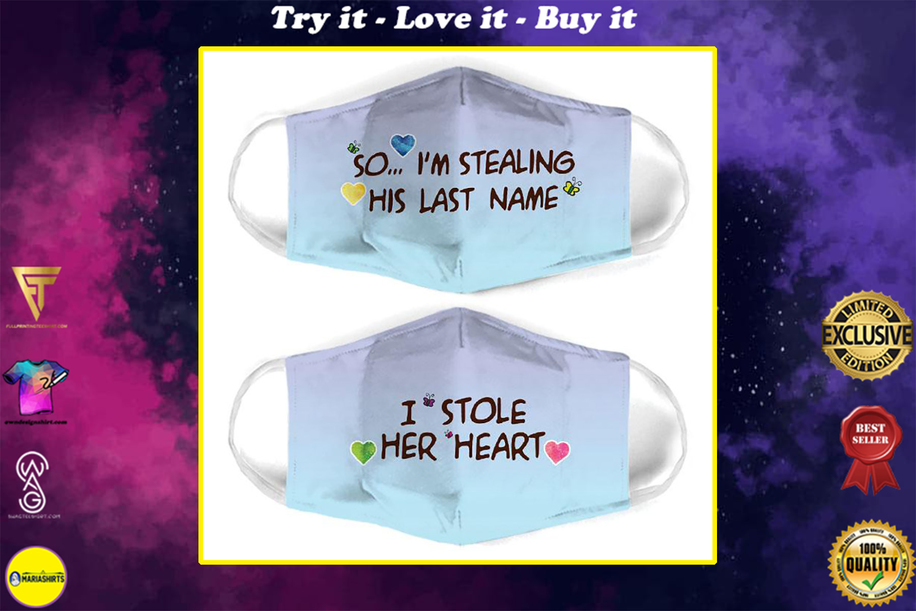 couple love i stole her heart all over print face mask