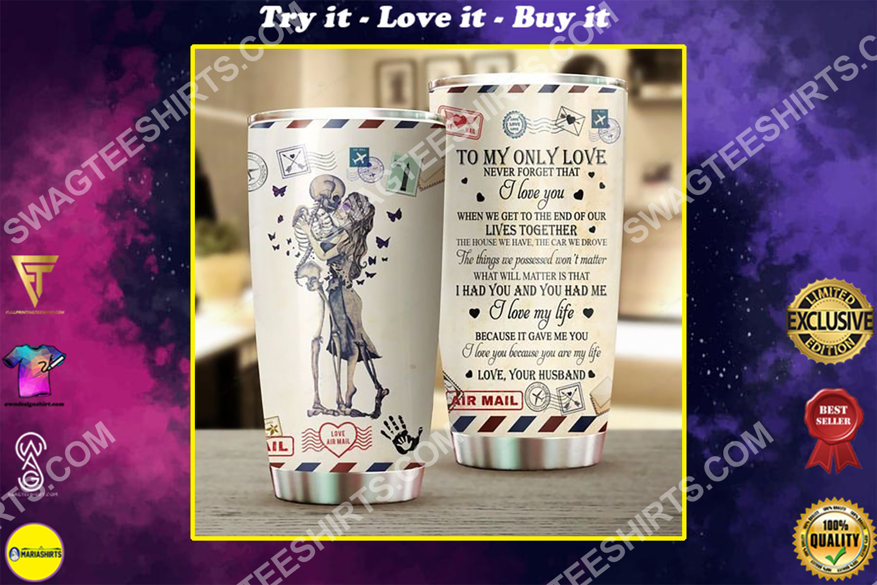 couple skull to my only love your husband all over printed stainless steel tumbler